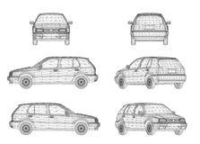 Progettazione di Wireframe dell'automobile Immagine Stock Libera da Diritti