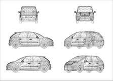 Progettazione di Wireframe dell'automobile Fotografie Stock