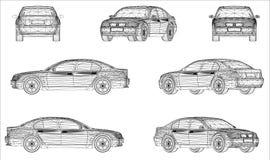 Progettazione di Wireframe dell'automobile moderna Fotografia Stock Libera da Diritti