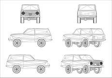 Progettazione di Wireframe della jeep fuori strada Immagini Stock