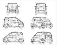 Progettazione di Wireframe di mini automobile Immagine Stock