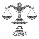 Progettazione di Zendoodle del segno dello zodiaco della Bilancia Illustrazione di vettore Immagini Stock Libere da Diritti
