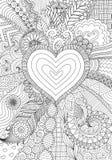 Progettazione di Zendoodle di forma del cuore sulla linea astratta progettazione del fondo di arte illustrazione vettoriale