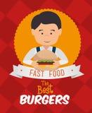 Progettazione digitale dell'hamburger Fotografia Stock Libera da Diritti