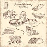Progettazione disegnata a mano dell'alimento messicano royalty illustrazione gratis
