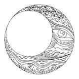 Progettazione disegnata a mano dell'illustrazione dello zentangle di vettore della luna Immagini Stock