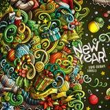 Progettazione disegnata a mano della struttura di Buon Natale di scarabocchi svegli del fumetto illustrazione vettoriale