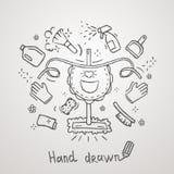 Progettazione disegnata a mano di vettore del grembiule di tema di pulizia Fotografia Stock Libera da Diritti