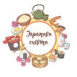 Progettazione disegnata a mano giapponese dell'alimento Cucina tradizionale del Giappone Menu di Antivari di sushi Immagine Stock Libera da Diritti