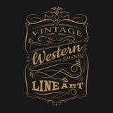 Progettazione disegnata a mano occidentale della maglietta della struttura di tipografia d'annata dell'etichetta illustrazione di stock