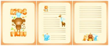 Progettazione divertente della lista del menu dei bambini con la pagina anteriore e le pagine per i piatti, con gli animali svegl Fotografie Stock Libere da Diritti