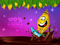 Progettazione divertente di vettore del cioccolato con il baccello del cacao Fotografie Stock