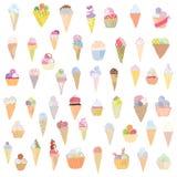 Progettazione divertente stabilita del gelato - disegnata a mano Fotografie Stock