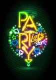 Progettazione dorata del partito delle luci al neon royalty illustrazione gratis