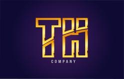 progettazione dorata dell'icona di combinazione di logo del Th t h della lettera di alfabeto dell'oro Fotografie Stock Libere da Diritti