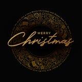 Progettazione dorata della cartolina d'auguri di Buon Natale Fotografia Stock Libera da Diritti