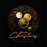 Progettazione dorata della cartolina d'auguri di Buon Natale Fotografie Stock Libere da Diritti