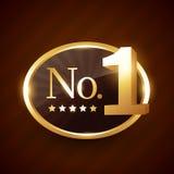 Progettazione dorata di vettore dell'etichetta di marca di numero uno royalty illustrazione gratis