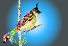 Progettazione e linea di arte dell'uccello tailandesi royalty illustrazione gratis