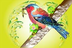 Progettazione e linea di arte dell'uccello tailandesi illustrazione vettoriale