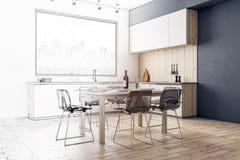 Progettazione ed architettura della cucina Fotografia Stock Libera da Diritti
