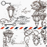 Progettazione elegante del menu per il caffè o invito con le lampade Immagine Stock
