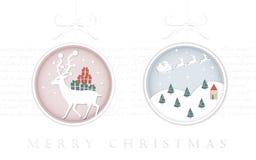 Progettazione elegante della cartolina d'auguri di Natale nella forma della bagattella Fotografia Stock Libera da Diritti