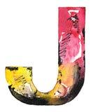Progettazione fatta a mano di alfabeto dell'acquerello Fotografia Stock