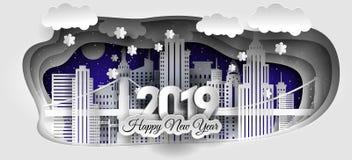 Progettazione felice creativa del nuovo anno e di Buon Natale 2018/2019 Città di inverno immagini stock libere da diritti