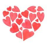 Progettazione felice dei cuori di giorno di biglietti di S. Valentino dell'acquerello Fotografie Stock
