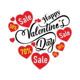 Progettazione felice del manifesto dell'insegna di vendita di giorno di biglietti di S. Valentino illustrazione di stock