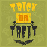 Progettazione felice dell'invito del partito dell'illustrazione di vettore della cartolina d'auguri di Halloween con l'emblema sp Immagini Stock