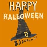 Progettazione felice dell'invito del partito dell'illustrazione di vettore della cartolina d'auguri di Halloween con l'emblema sp Fotografia Stock