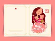 Progettazione felice della cartolina d'auguri di celebrazione di festa della Mamma Immagini Stock