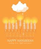 Progettazione felice della cartolina d'auguri di Chanukah, festa ebrea Fotografia Stock Libera da Diritti
