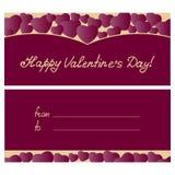 Progettazione felice della cartolina d'auguri di giorno del ` s del biglietto di S. Valentino con i cuori Fotografia Stock Libera da Diritti