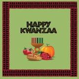 Progettazione felice della cartolina d'auguri di Kwanzaa Fotografia Stock