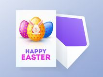 Progettazione felice della cartolina d'auguri di Pasqua con l'illustrazione di sveglio pochi coniglio ed uova colourful illustrazione di stock