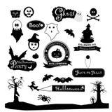 Progettazione felice delle collezioni della siluetta di giorno di Halloween illustrazione vettoriale