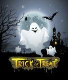 Progettazione felice di scherzetto o dolcetto del fantasma e del messaggio di Halloween illustrazione di stock