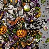 Progettazione felice disegnata a mano della struttura di Halloween di scarabocchi svegli del fumetto illustrazione vettoriale