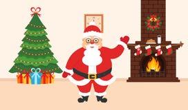 Progettazione festiva della stanza Il camino del mattone, Natale si avvolge, latte e biscotti per Santa sveglia, albero decorato  Immagine Stock