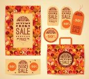 Progettazione fissata per la vendita di autunno Immagini Stock Libere da Diritti