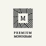 Progettazione floreale alla moda e graziosa del monogramma Immagine Stock