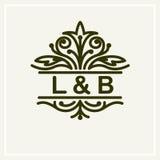 Progettazione floreale alla moda e graziosa del monogramma Immagine Stock Libera da Diritti