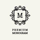Progettazione floreale alla moda e graziosa del monogramma, linea elegante logo di arte, modello di vettore Immagini Stock