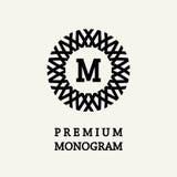 Progettazione floreale alla moda e graziosa del monogramma, linea elegante logo di arte, modello di vettore Immagine Stock Libera da Diritti