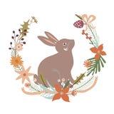 Progettazione floreale con coniglio Immagine Stock