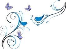 Progettazione floreale con gli uccelli Fotografia Stock