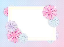 Progettazione floreale d'annata romantica dell'insegna Fiorisca la carta e la struttura quadrata per il vostro testo Illustrazion illustrazione vettoriale